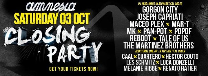Amnesia Closing Party 2015 Line Up
